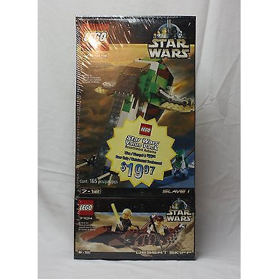 New Lego Star Wars 7144 Slave I and 7104 Desert Skiff from 2000 SEALED