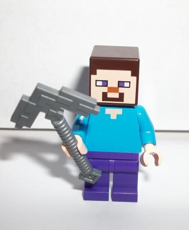 Lego Minecraft Steve Minifig Figure w Pick Axe