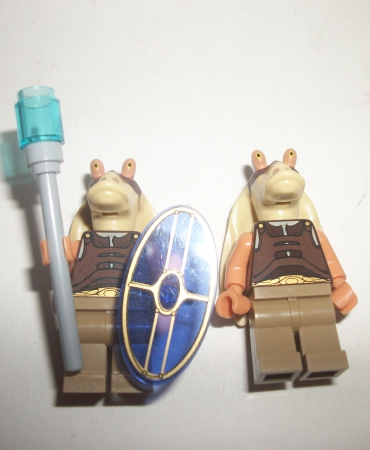 Lego Jar Jar Binks Star Wars Gungan Lot of 2 Warriors Minifigures