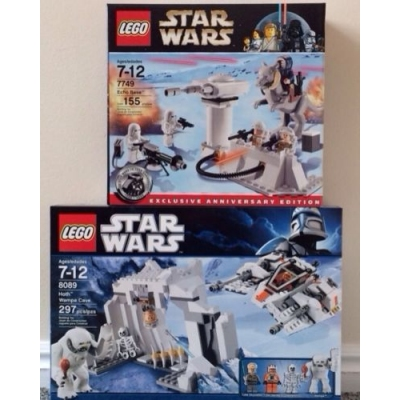 LEGO Star Wars 7759 & 8089 Empire Strikes Back Lot Echo Base & Hoth Wampa Cave