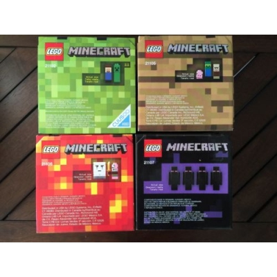 LEGO Minecraft Set of 4 Microworld,Villiage,Nether,End 21102 21105 21106 21107