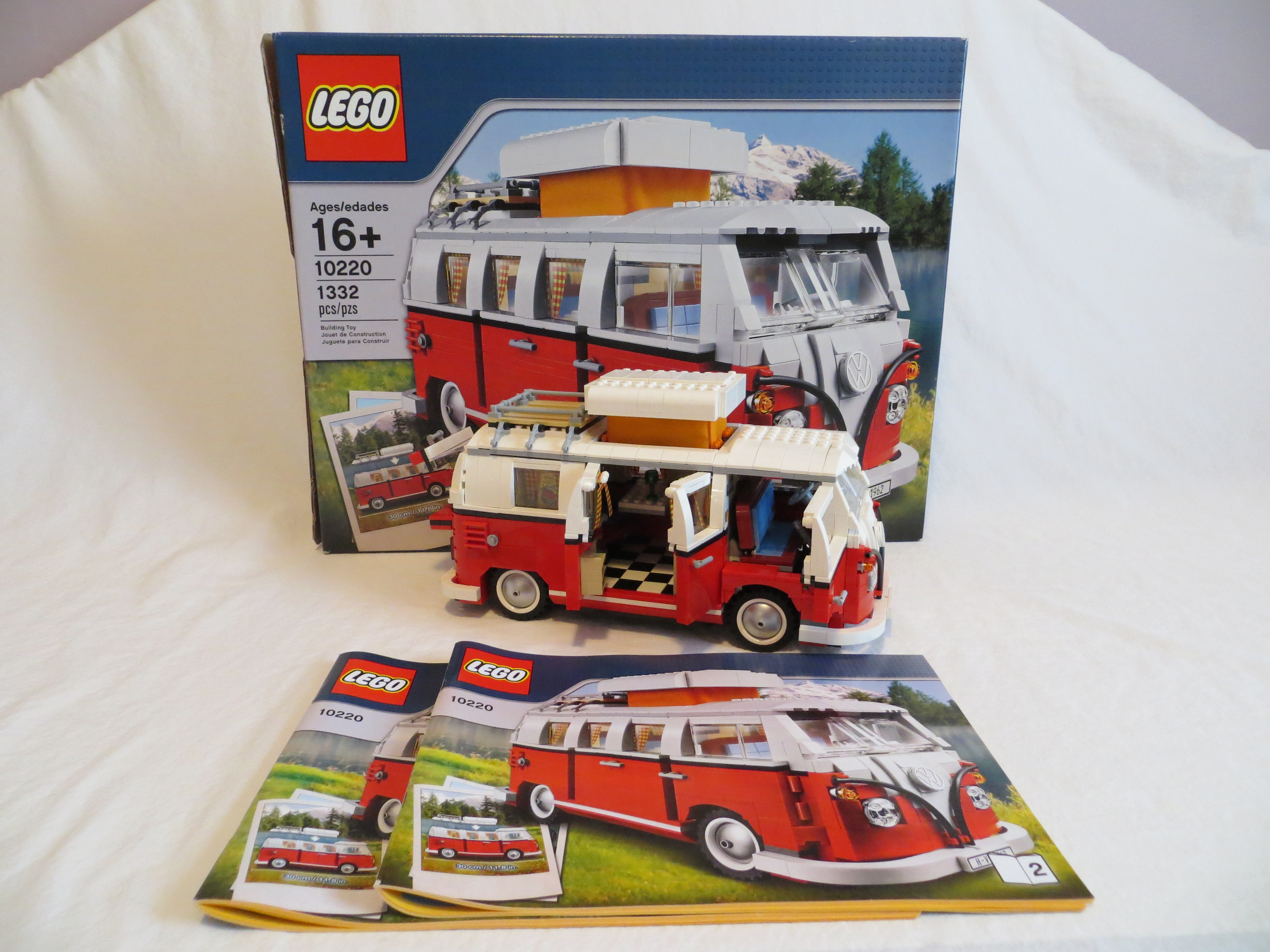 lego exclusive set 10220 volkswagen t 1 camper van used complete with instructions and box by. Black Bedroom Furniture Sets. Home Design Ideas